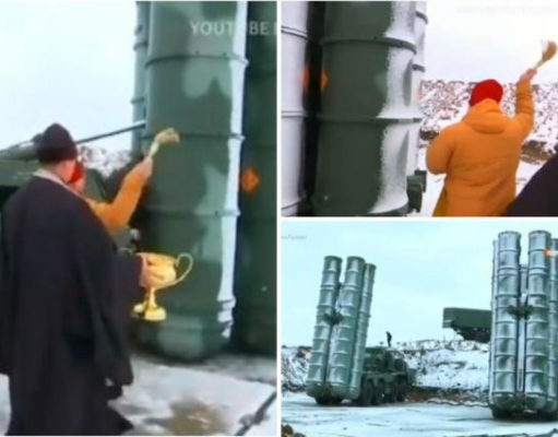 (VIDEO) Protiv uroka i da dobro služi: Ruski pop osveštao novi S-400 na Krimu (VIDEO)